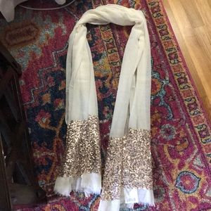 Anthropologie cream and rose gold scarf